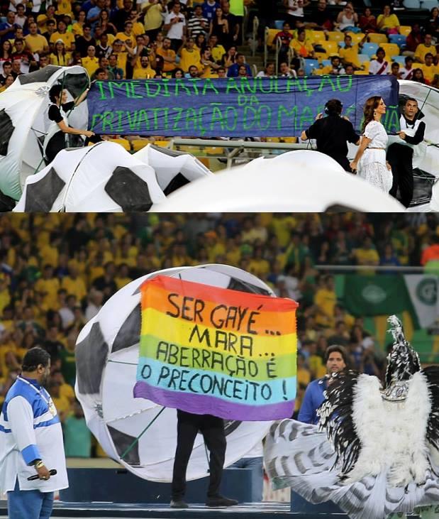 Protesto antes da final da Copa das Confederações